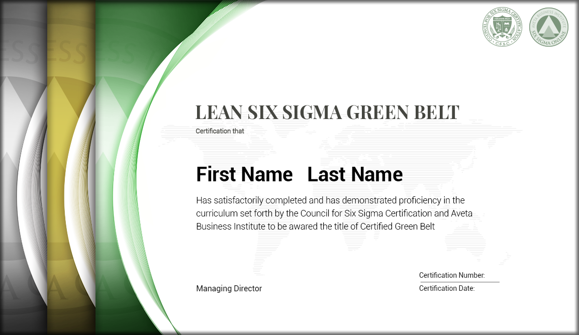 What is a six sigma green belt certification choice image for Green belt certificate template
