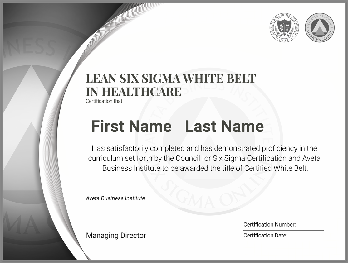 Free Lean Six Sigma White Belt Training And Certification Fully