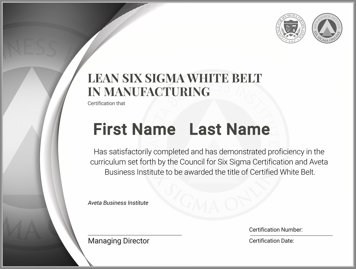 Putting Six Sigma Certification to Work in a Manufacturing Environment